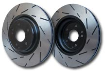 Image of EBC Ultimax BlackDash USR Slotted Rotors after contact area has worn off